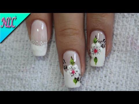 Diseños de uñas - DISEÑO DE UÑAS FRANCÉS Y ANIMAL PRINT ¡MUY FÁCIL! - FLOWERS NAIL ART - NLC