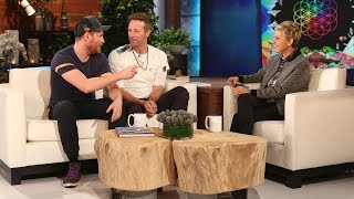Two members of Coldplay, Chris Martin and Johnny Buckland, told Ellen about what it's like being part of such an incredible band.