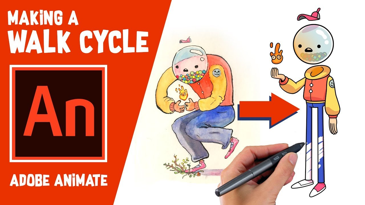 2d walk cycle animation using   adobe animate tutorial