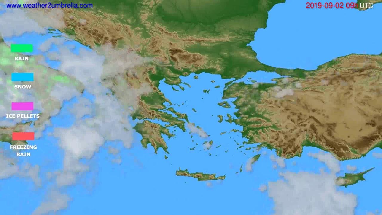 Precipitation forecast Greece // modelrun: 12h UTC 2019-08-31