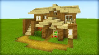 Minecraft Tutorial: How To Make A Ultimate Wooden Starter House with everything you need to survive
