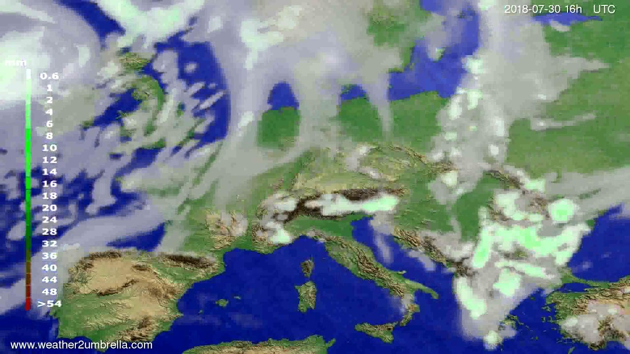 Precipitation forecast Europe 2018-07-27