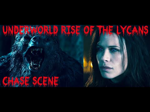 Underworld Rise of the Lycans - werewolves chase Sonja scene - lucian Crossbow skill HD