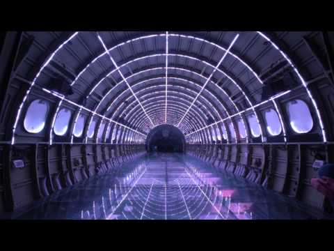 Old plane fuselage turned into trippy light ride