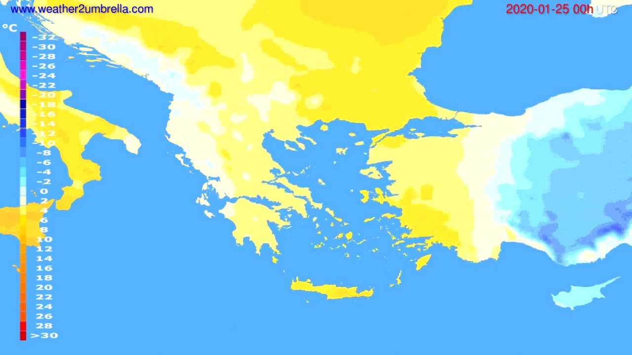 Temperature forecast Greece // modelrun: 00h UTC 2020-01-24