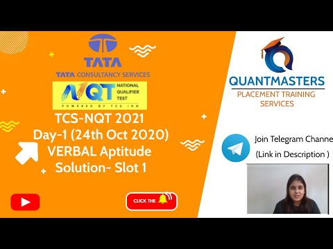 TCS NQT 2020 DAY-1 Verbal Aptitude Solutions   TCS NQT 2021 Exam Answers