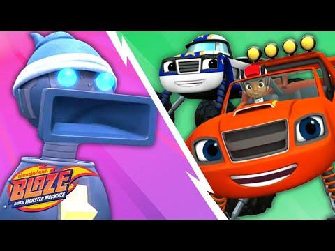 Blaze and Darrington vs. Giant Robots! | Blaze and the Monster Machines