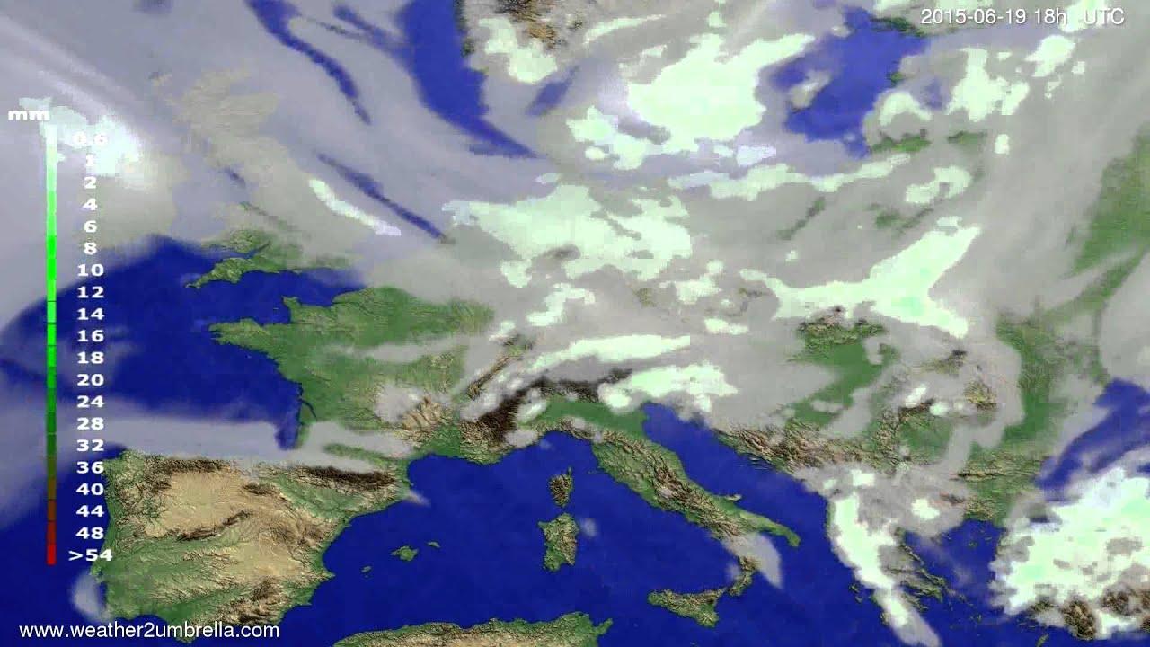 Precipitation forecast Europe 2015-06-16