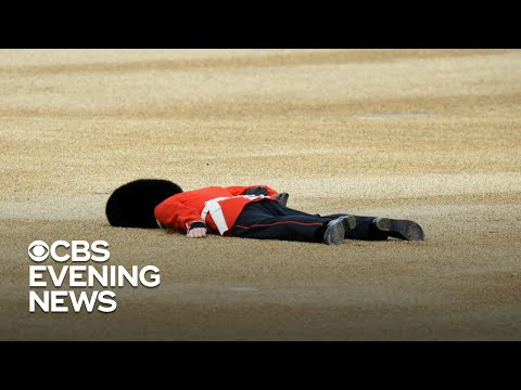 The Queen's Guards try not to faint as temperatures soar