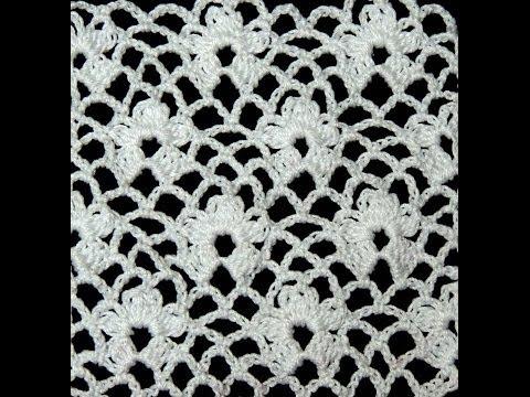 Crochet : Punto Enrejado con Flor.  Parte 1 de 2