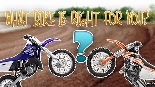 8. What size bike is right for you? How big is to big? 65/85/125/250cc