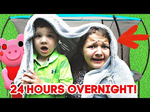 24 HOURS ON TRAMPOLINE OVERNIGHT with AUBREY & CALEB! IS PIGGY THE NEW VILLAIN?