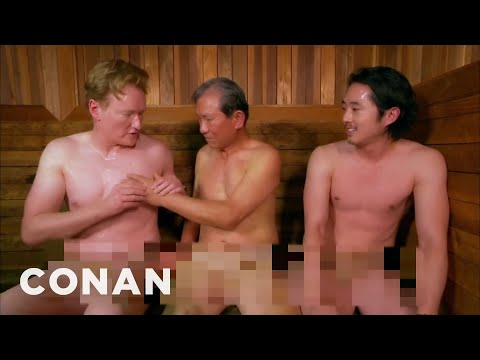 Steven Yeun And Conan Visit A Korean Spa - CONAN on TBS