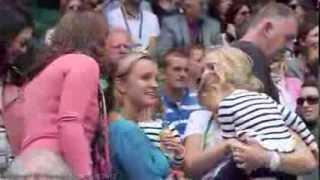 (Better quality version) Roger Federer Twin Daughters Myla Rose and Charlene Riva Welcoming Papa at 2012 Wimbledon QF day on July 4, 2012.