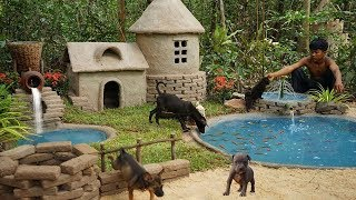 Building most beautiful mud dog home for abandoned puppies and fish pond for raising goldfish