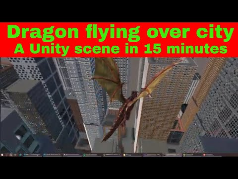 Dragon Flying Over A City in Unity: Unka the Dragon, Animal Controller and CScape