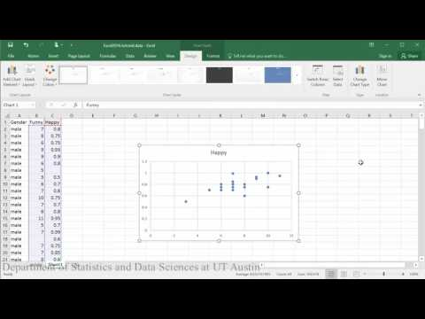 Scatterplot and Correlation in Excel 2016