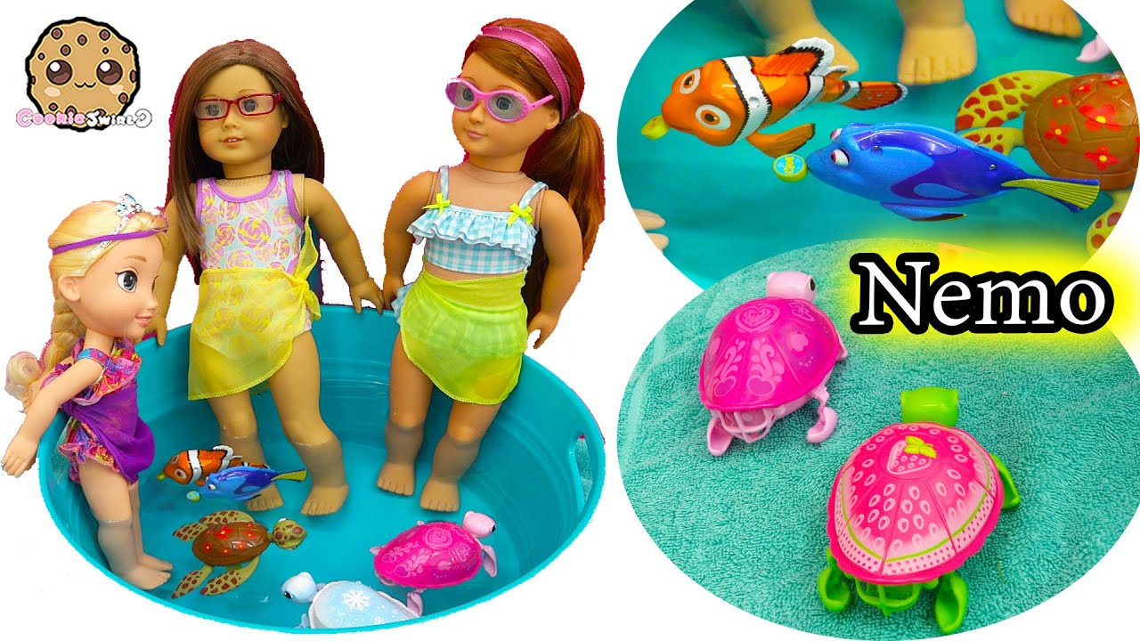 American Girl Doll Splash Around In Water Pool with Swimming Finding Dory , Nemo and Sea Turtles