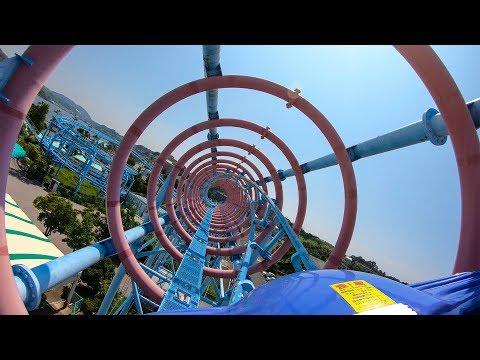 Riding Mega Coaster! Weird Japanese Looping Roller Coaster! Hamanako Pal Pal Japan 4K POV