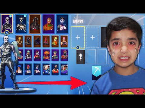 DELETING ALL OF MY LITTLE BROTHERS FORTNITE SKINS & BUYING HIM NEW SKINS INCLUDING SKULL TROOPER!
