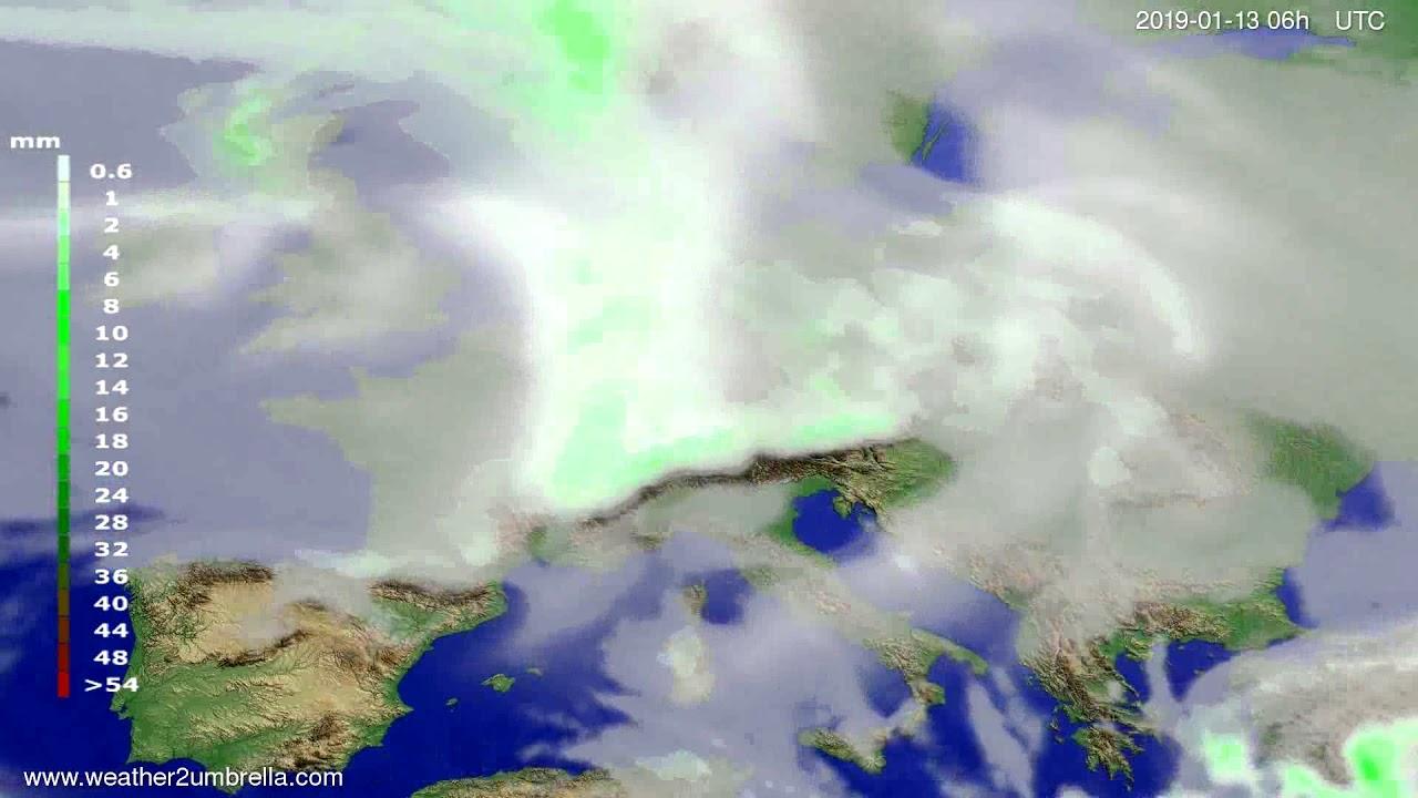 Precipitation forecast Europe 2019-01-09