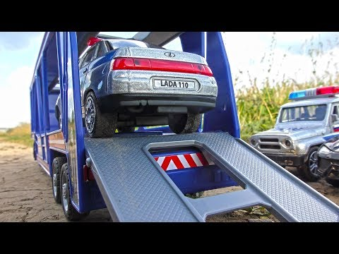 Police Cars Transportation by Toy Truck Hauler || Video for Kids