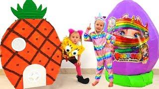 Kids playing with HUGE EGGS Surprise Toys SpongeBob & Unicorn