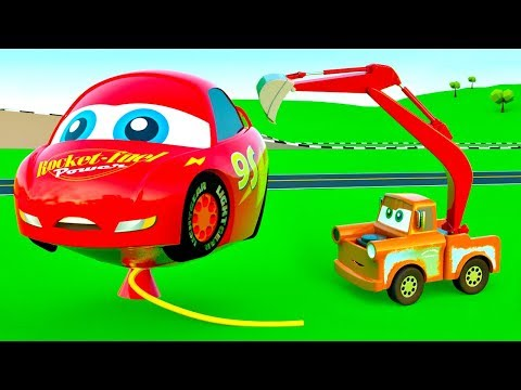 EXCAVATOR Tow Truck for Kids, Learning Cartoon Construction Vehicles Mack Garbage Truck Mcqueen Cars