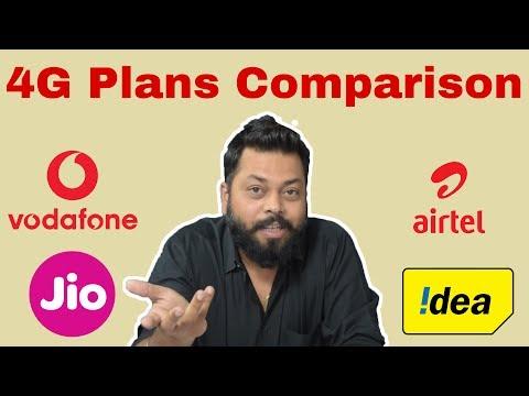 JIO vs AIRTEL vs VODAFONE v IDEA: 4G Prepaid plans Comparison in Hindi 2017