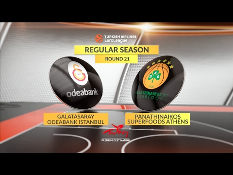 EuroLeague Highlights RS Round 21: Galatasaray Odeabank Istanbul vs. Panathinaikos Superfoods Athens