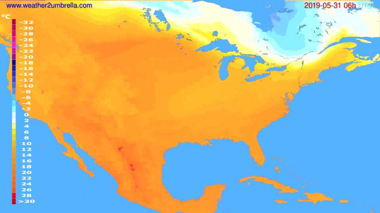 Temperature forecast USA & Canada // modelrun: 00h UTC 2019-05-29