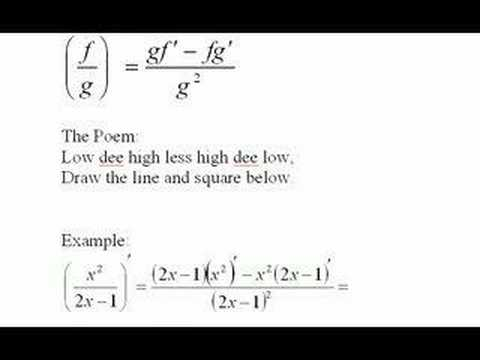 quotient rule formula. The quotient Rule Part 2