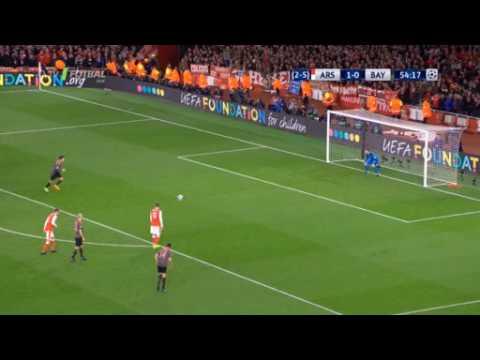 Arsenal (1 - 1 ) - Bayern Goal Lewandowski Champions League 7/03/2017