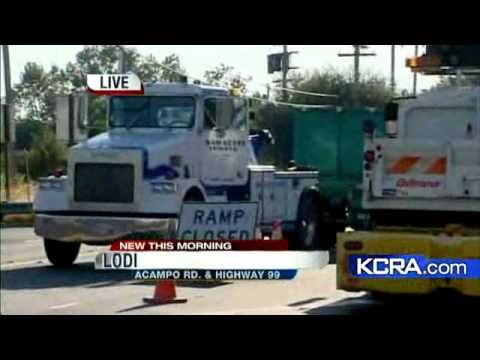 haul truck crash - KCRA 3's Mae Fesai reports from Lodi where a grape truck crashed at at onramp to Highway 99.