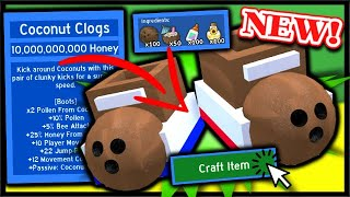 CRAFTING *NEW* COCONUT CLOGS, COCONUT HASTE BOOSTS! | Roblox Bee Swarm Simulator