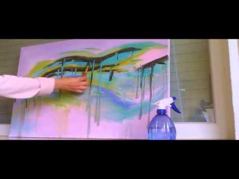 Abstraktes Bild malen. Speed painting.