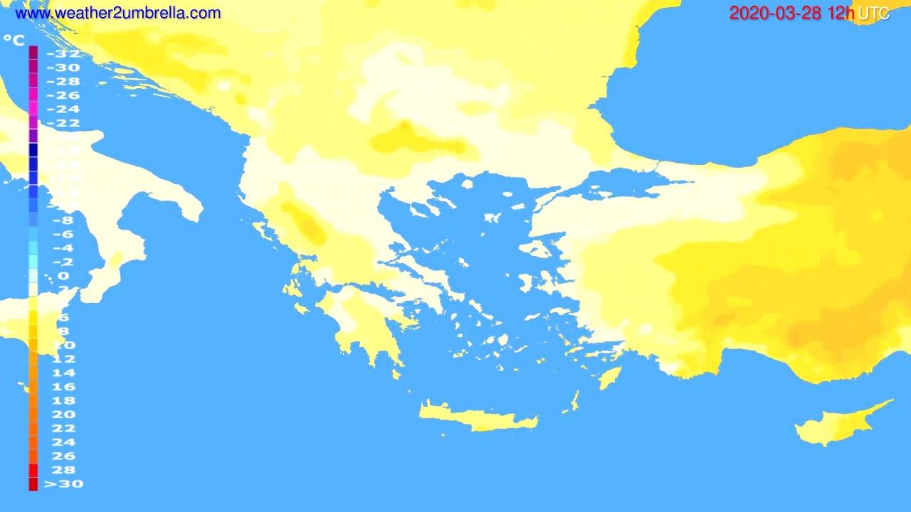 Temperature forecast Greece // modelrun: 12h UTC 2020-03-27