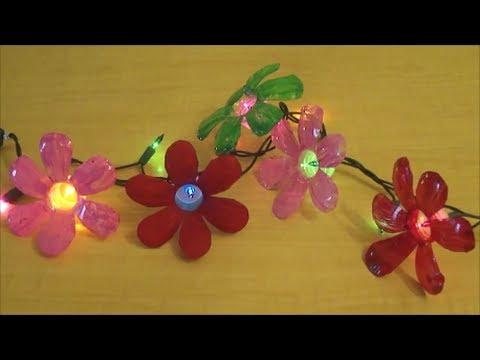 FIORI DI PLASTICA per le vostre lucine di Natale ♥ VIDEOTUTORIAL di Riciclo Creativo