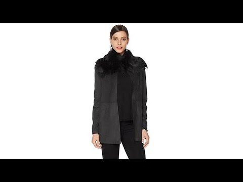Pamela Dennis Faux Suede Jacket with Faux Fur Collar