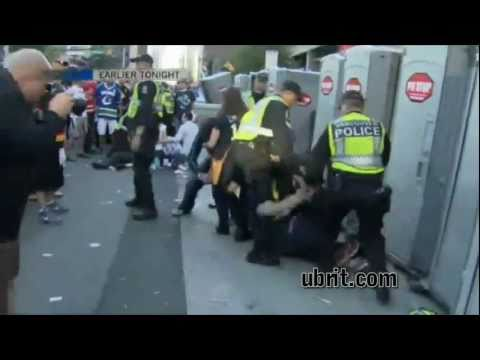Vancouver Riots Porta Potty Topple