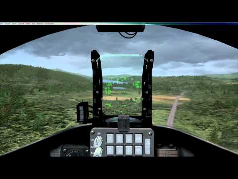 FSX Freeware T-45 Goshawk, Low Flying The Mach Loop In Wales And Landing At RAF Valley.