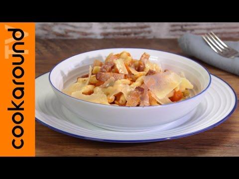 video ricetta: primi piatti sfiziosi - pasta con zucca pancetta e grana