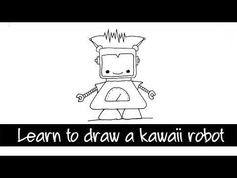 Draw a Kawaii Robot step by step