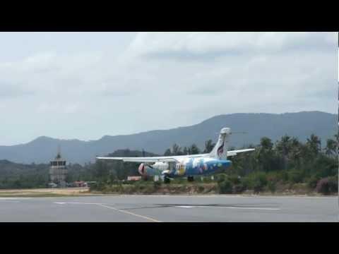 Landing to MOST BEAUTIFUL AIRPORT IN THE WORLD, KOH-SAMUI Island, Bangkok Airways, ATR 72