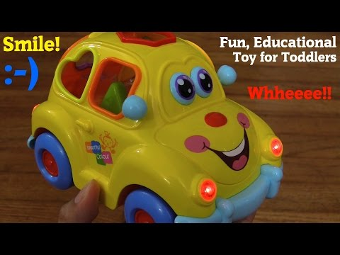 Educational Toy Car For Toddlers: A Yellow Beetle Shapes Sorter Car w/ Lights and Music Unboxing