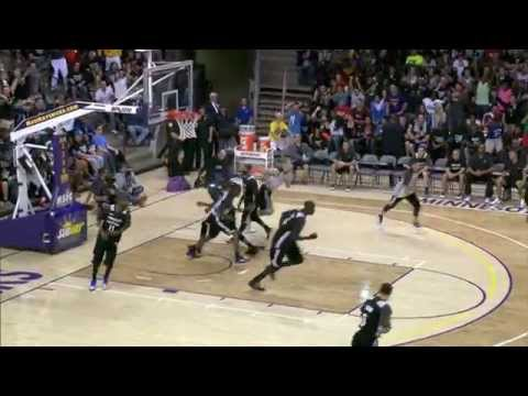 down - Ricky Rubio connects with Andrew Wiggins for the alley oop during the Timberwolves scrimmage. About the NBA: The NBA is the premier professional basketball league in the United States and...