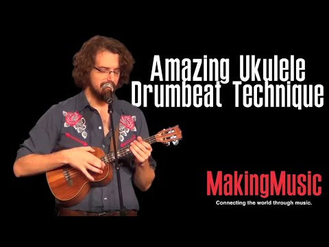 ukulele - James Hill gives a mini lesson on how to play the ukulele like a drum. Filmed at NAMM 2013. For more, visit http://makingmusicmag.com/amazing-ukulele-drumbea...