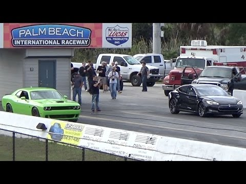 tesla - http://www.streetcardrags.com/tesla-model-s-p85d-sets-14-mile-world-record-while-challenger-hellcat-goes-up-in-smoke-drag-racing/ 1/4 mile drag race video of the new 2015 Tesla P85D against...