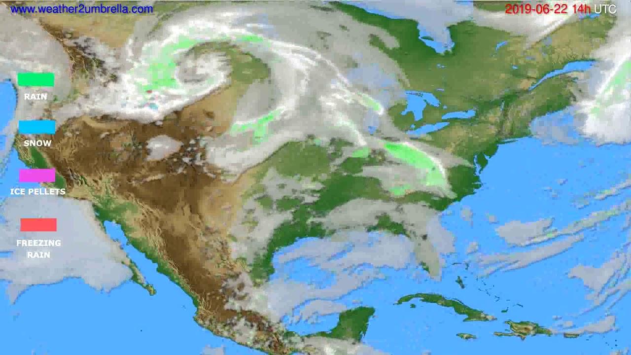 Precipitation forecast USA & Canada // modelrun: 12h UTC 2019-06-20
