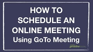 This tutorial walks through the steps of creating an online meeting using GoTo Meeting. This video and all of my tutorials were ...
